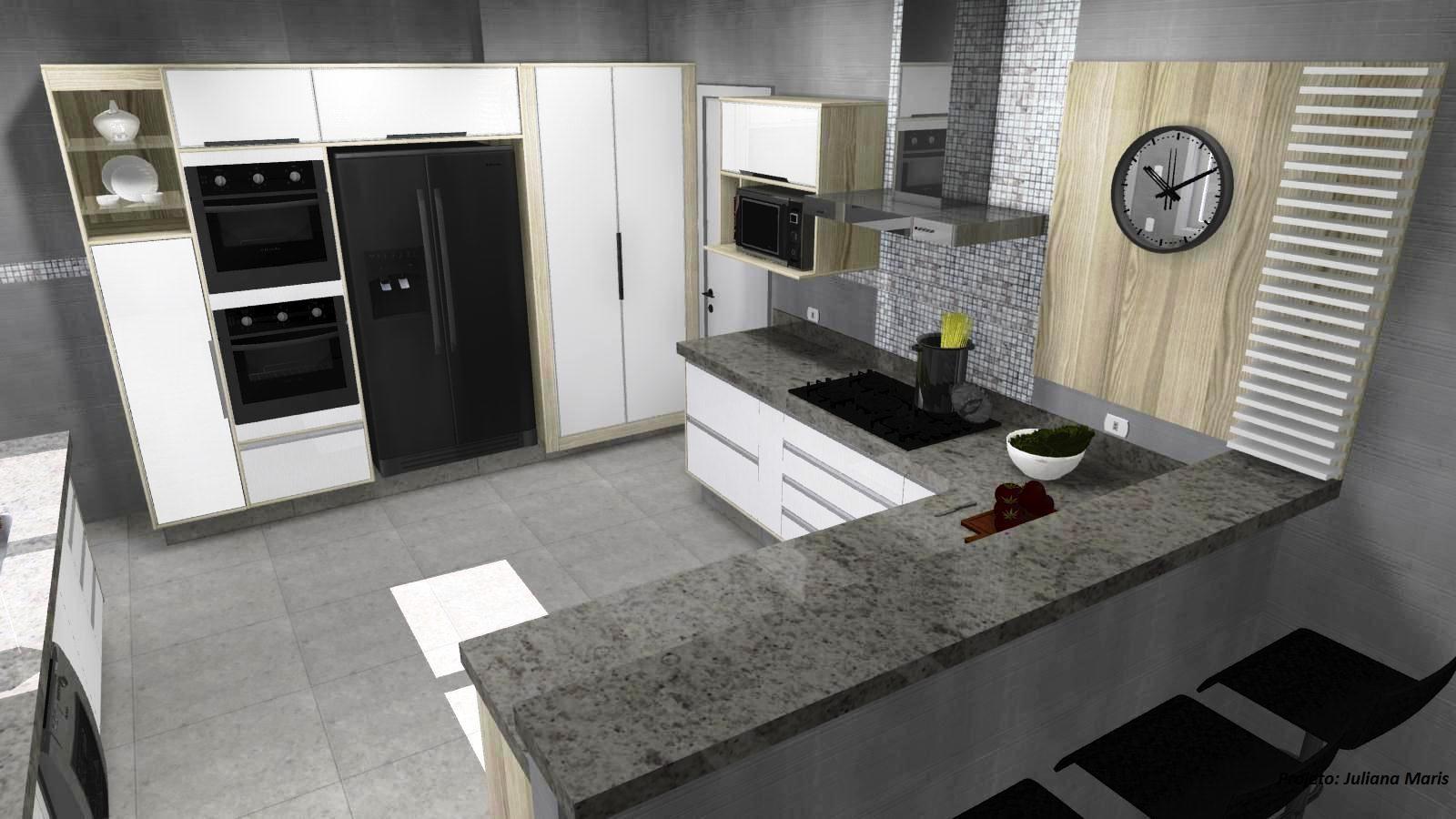Cozinha Gourmet Com Interna A Bancada No Centro Da Cozinha Gourmet