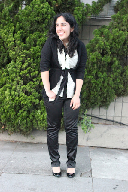 DVF Kailey Button Down and Black Slacks Outfit