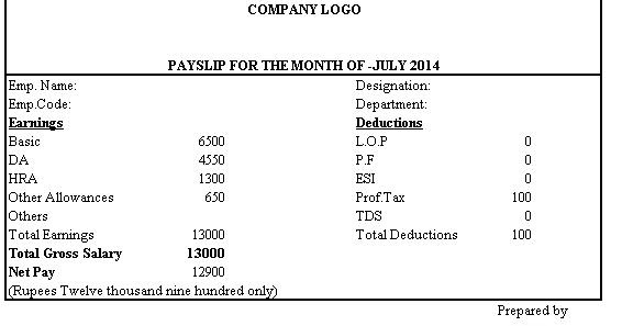 simple salary slip format without deductions
