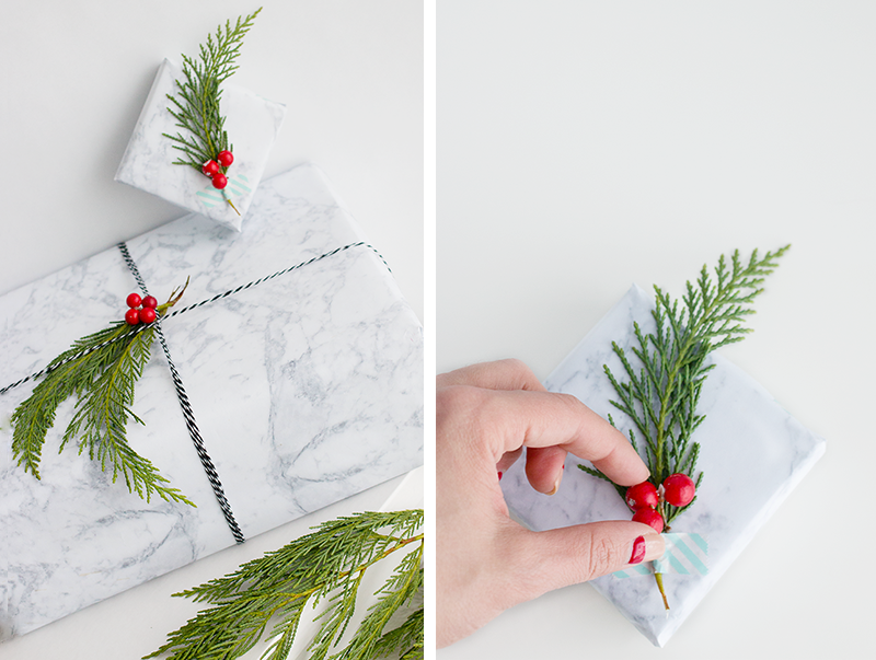 Inexpensive minimalist holiday gift wrapping ideas with marble paper