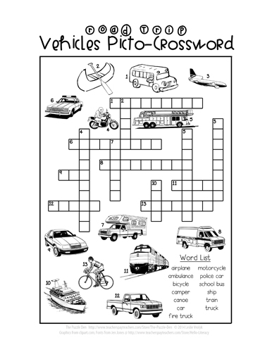 Road Trip Vehicles Picto-Crossword