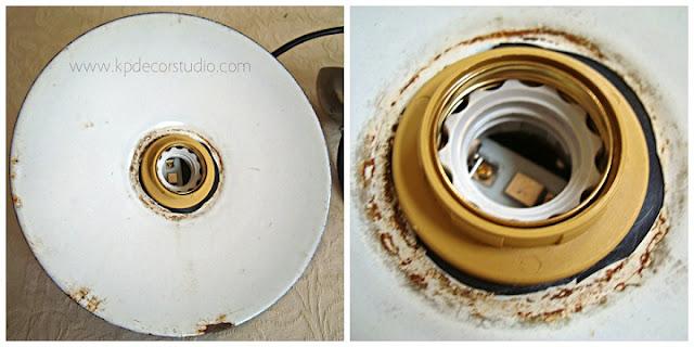 Lámparas esmaltadas restauradas y recableadas, electrificadas.
