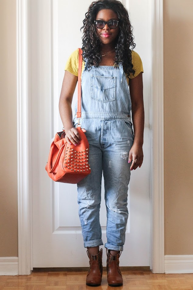 denim overalls, zara, shoedazzle boots, canadian fashion blogger, style blogger, african american fashion