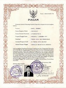 Piagam dari Kampus Teknolog ITS Surabaya Jatim.......