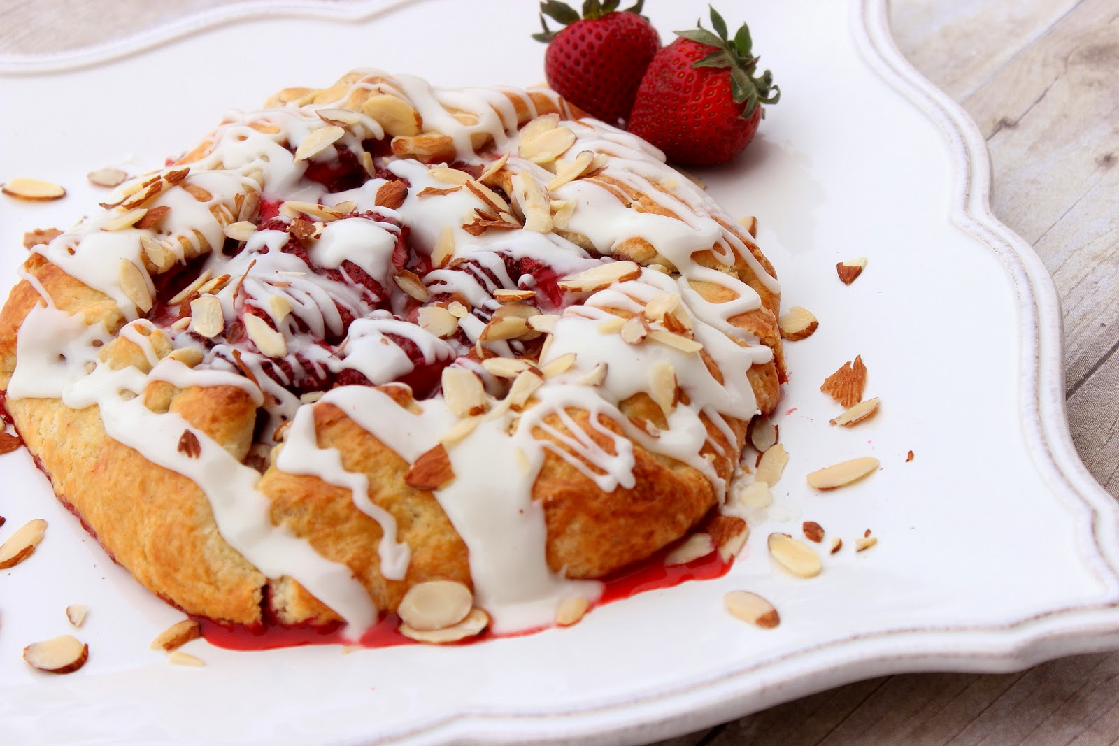 Strawberry Crostata with Sweet Almond Glaze Recipe via Kudos Kitchen By Renee
