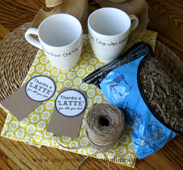 A simple Teacher Gift Idea. Create these adorable Thaks a Latte gifts in no time. These would be awesome for older kids to give. #teachergifts #teacherappreciation