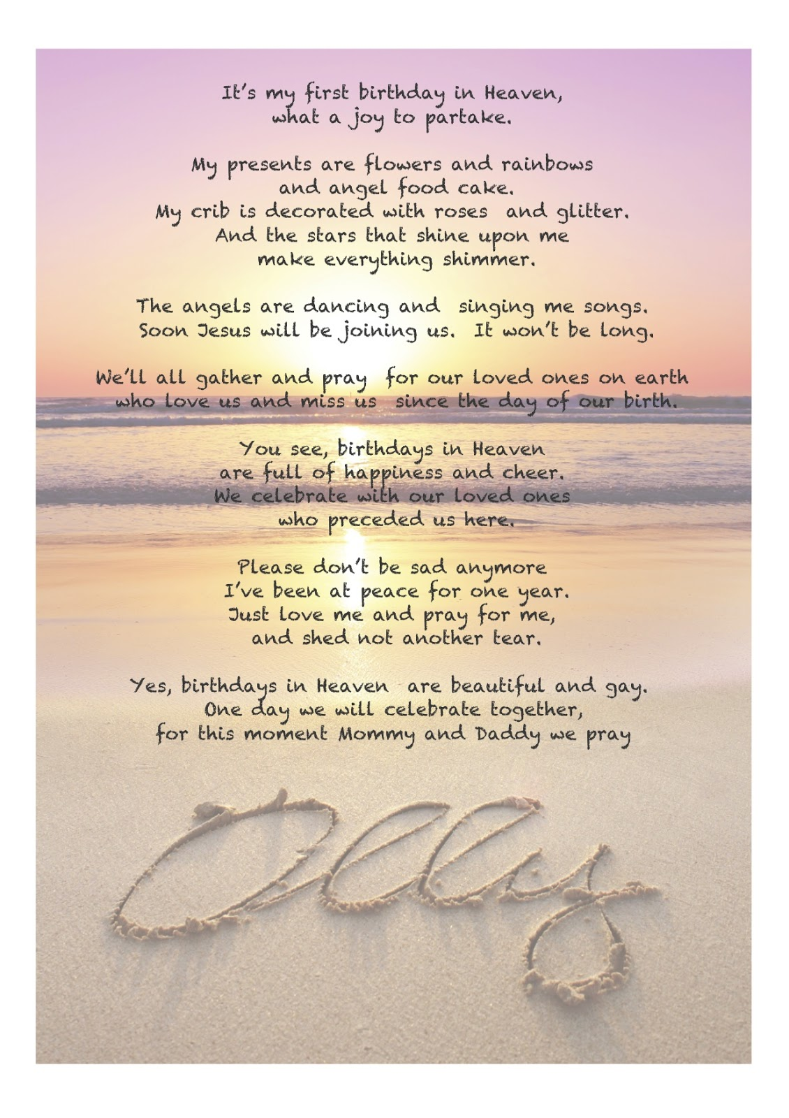 First Birthday in Heaven Quotes http://www.gypsywife.com/2013/01/firsts.html