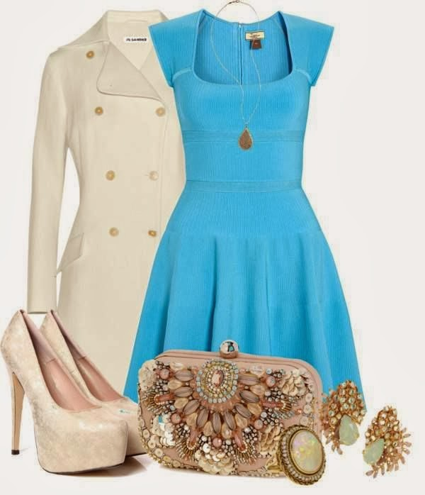 Stylish creamy long jacket, blue dress and high heel sandals and handbag fashion