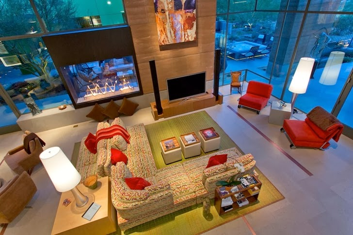 Living room of Multimillion modern dream home in Las Vegas from upper floor