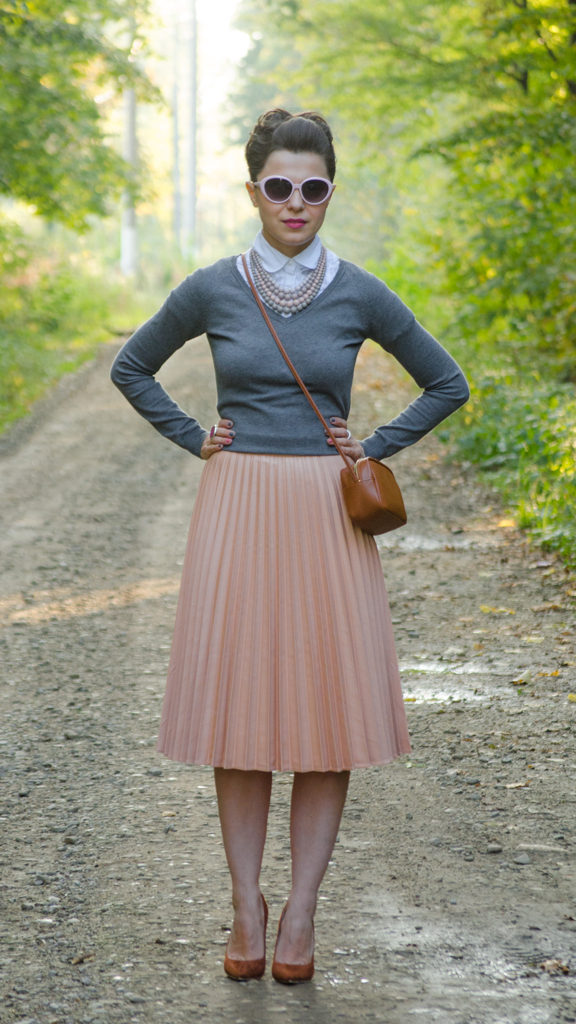 pastels pleated skirt dusty pink grey sweater white shirt statement necklace little brown satchel bag brown heels