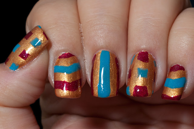 Above The Curve  Scarlet Pure Ice Gold Matte Pattern Nail Art