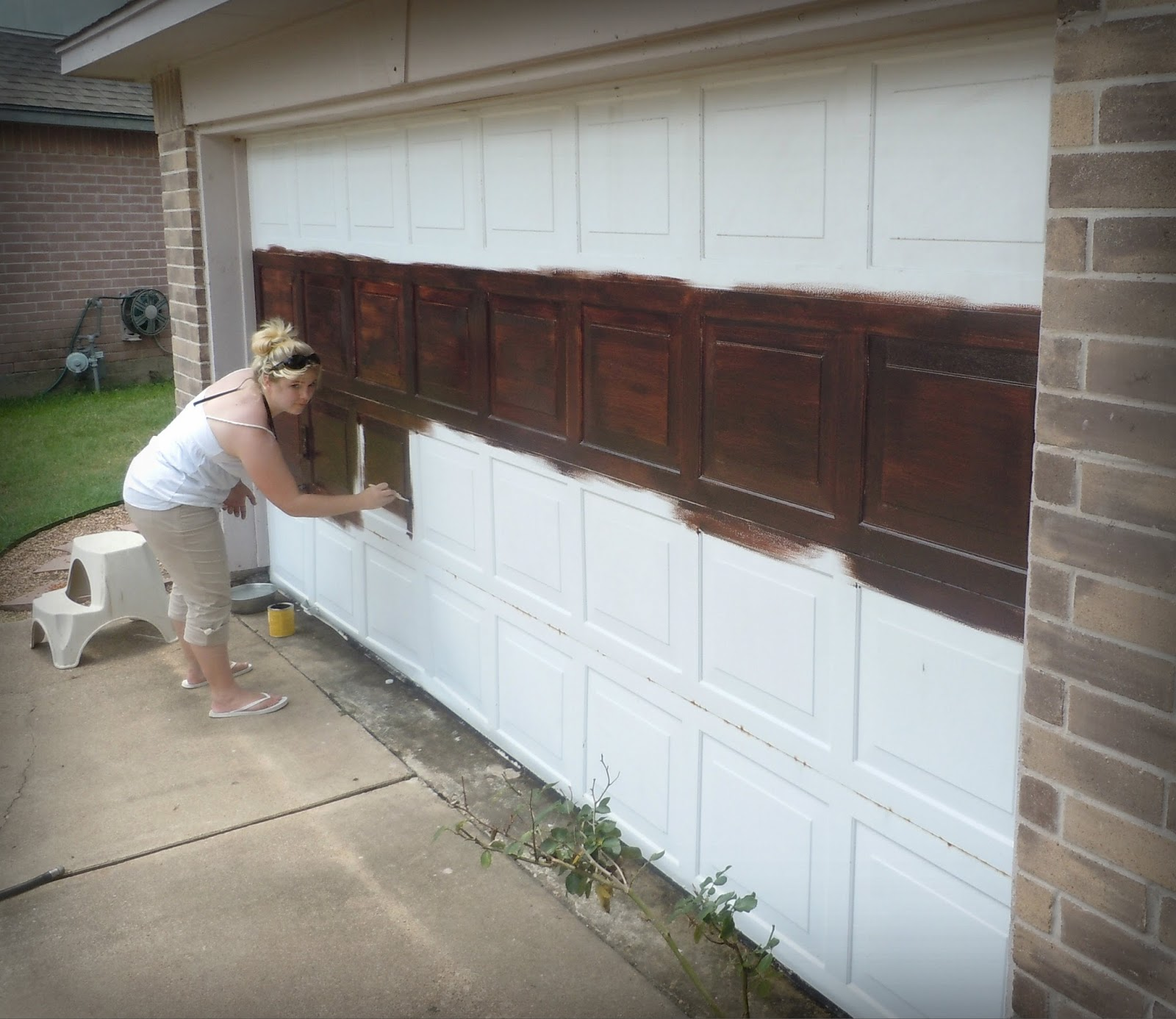 Made to love diy faux wooden garage door for Faux painted garage doors