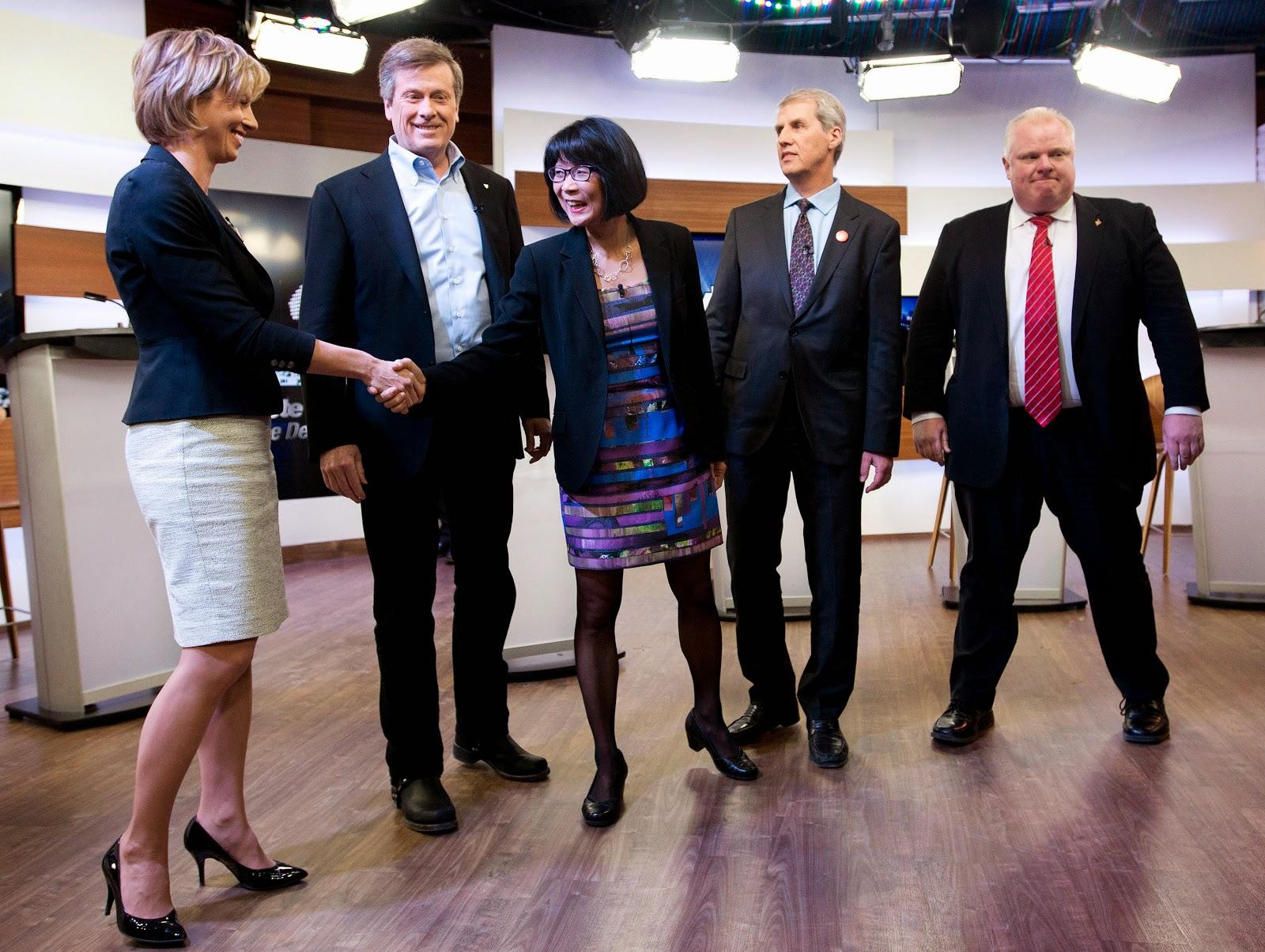 Karen Stintz, John Tory, Olivia Chow, David Soknacki, Rob Ford, debate March 26 2014.