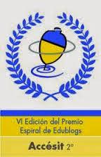 2º ACCESIT  en los VI Premios Espiral Edublogs 2012.