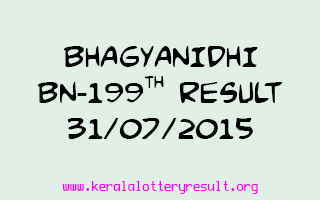 BHAGYANIDHI BN 199 Lottery Result 31-7-2015