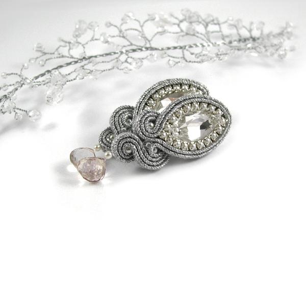 Kryształowa biżuteria ślubna - kolczyki sutasz i stroik do włosów Airy