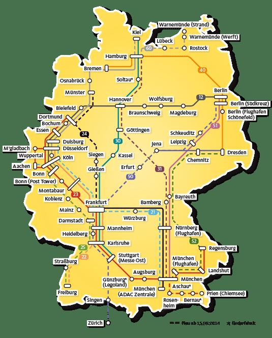 Схема маршрутов автобусов ADAC