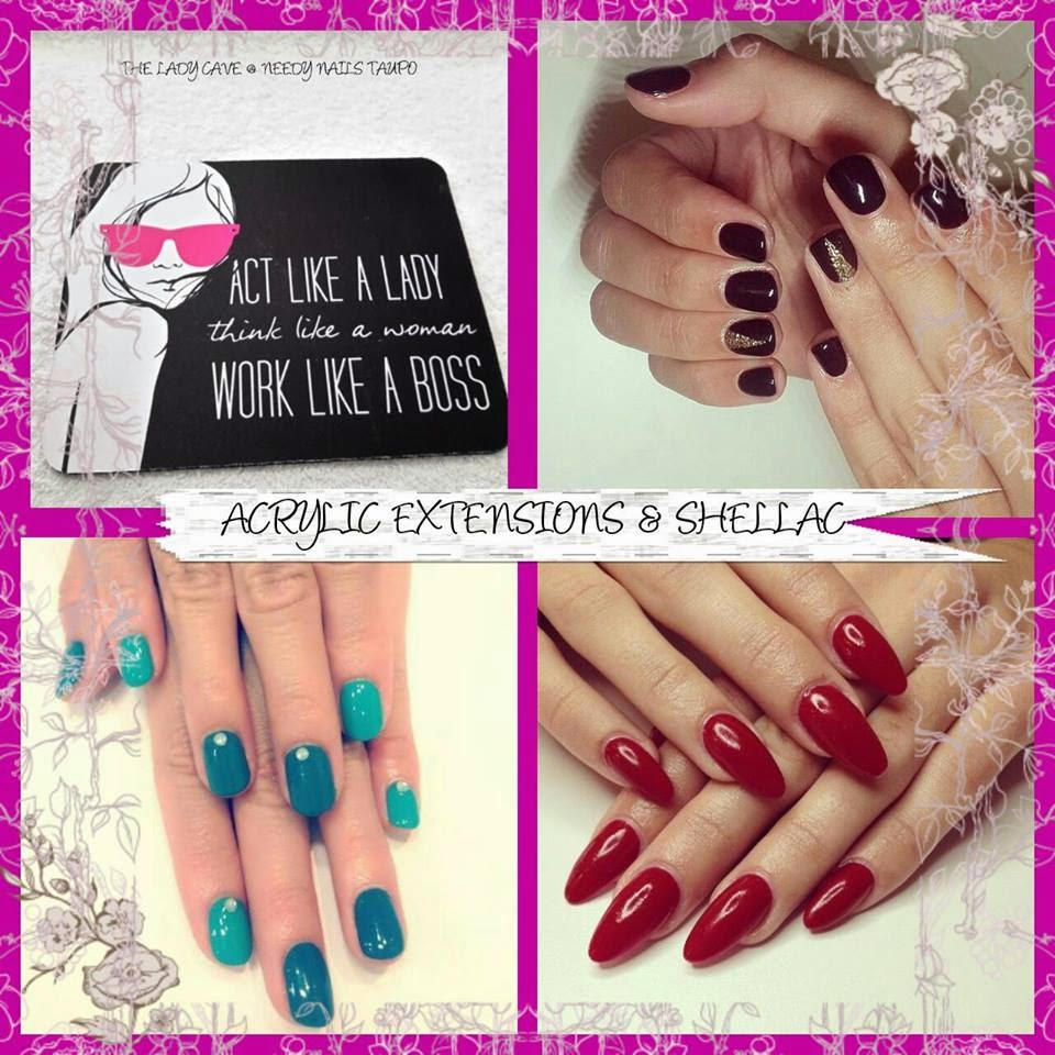 Acrylic Extensions manicure   and Custom Shellac nail art design pics