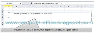 Embed MS Word pada MS Excel 2010
