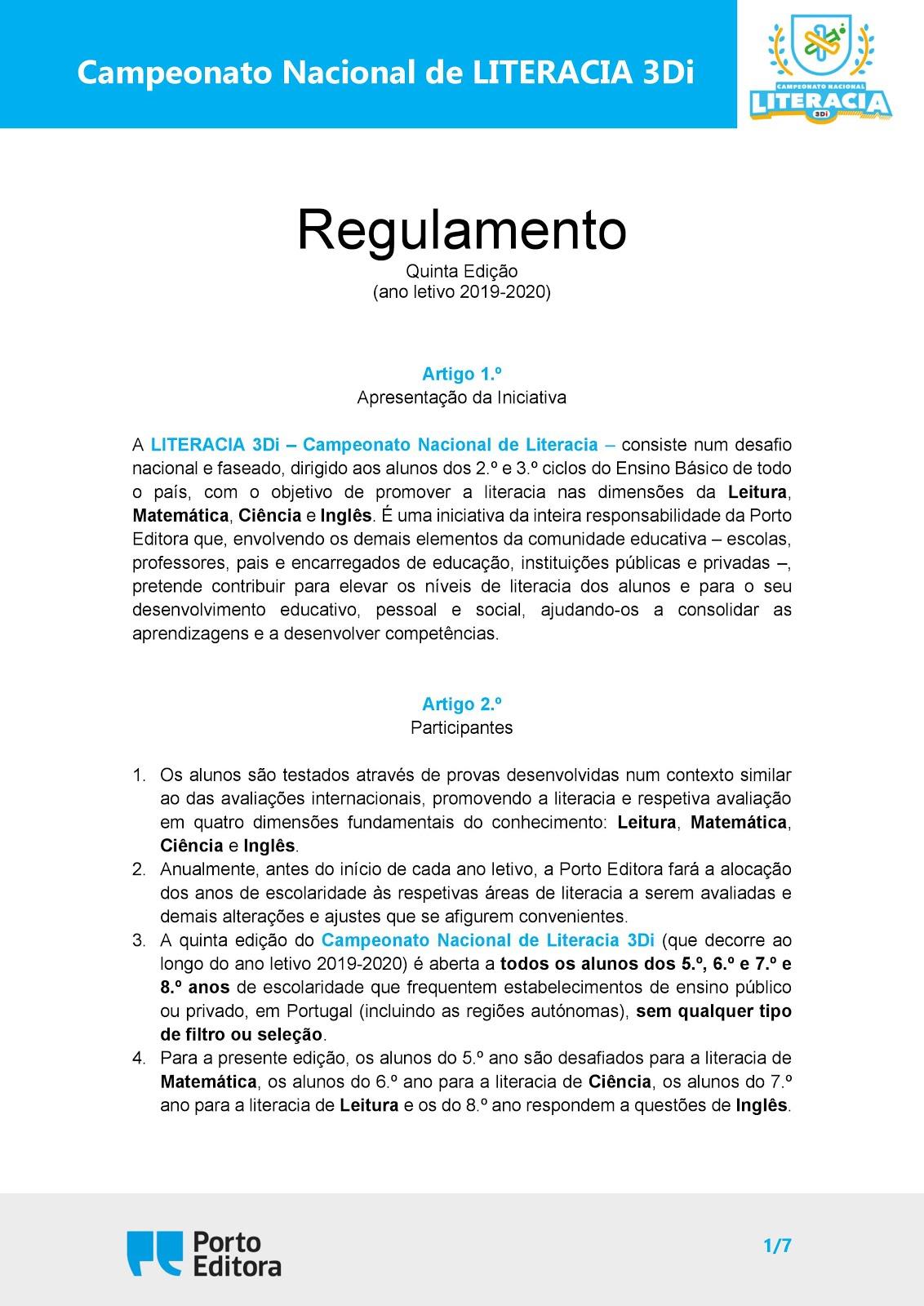 Concurso Nacional de Literacia 3Di -  2019/2020