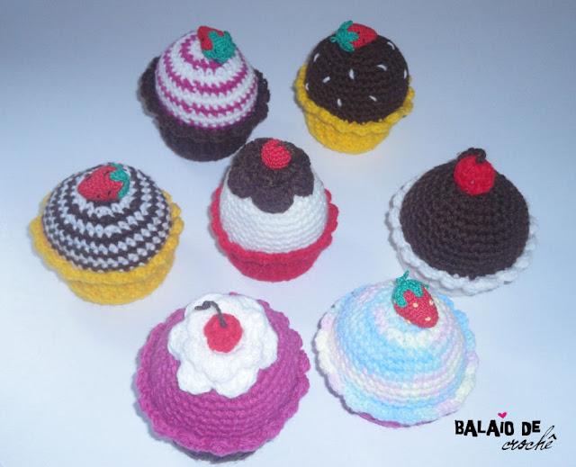 Cupcakes em crochê