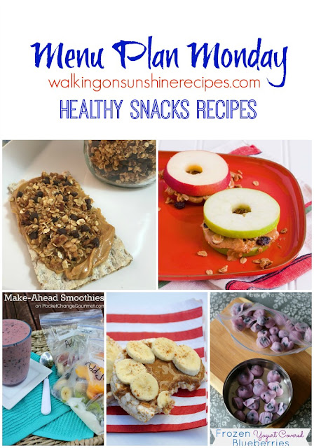 This week's Menu Plan Monday is a great collection of healthy snacks recipes to help us plan out our snacks all week long from Walking on Sunshine Recipes.