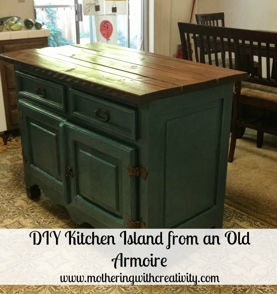 DIY Kitchen Island From An Old Armoire Tutorial