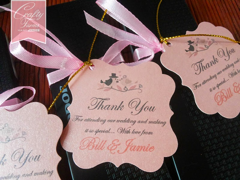 Love Birds Themed Wedding Favour Chopsticks Decoration with Thank You Tag