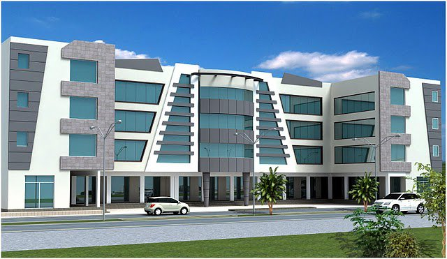 Front Elevation Of Commercial Building : D front elevation of commercial