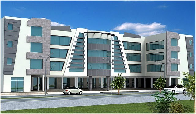 D Front Elevation Of Commercial Building : D front elevation of commercial