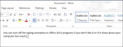 Bỏ hiệu ứng nhập văn bản trên Word 2013