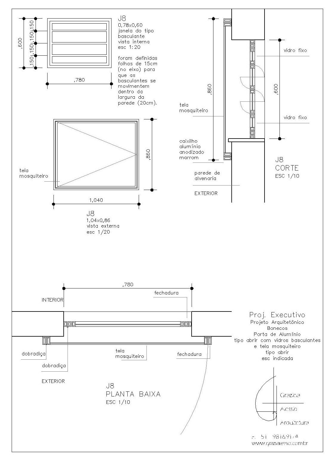As janelas J7 e J8 foram pensadas para a iluminação do vão da  #222222 1114x1544 Banheiro Bloco Cad