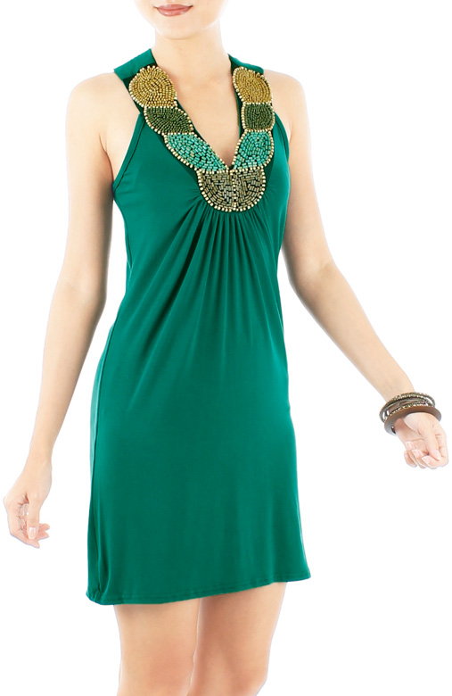 Forest Green Getaway Dress with Beaded Neckline