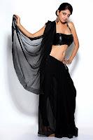 Poonam, Kaur, black saree, navel show