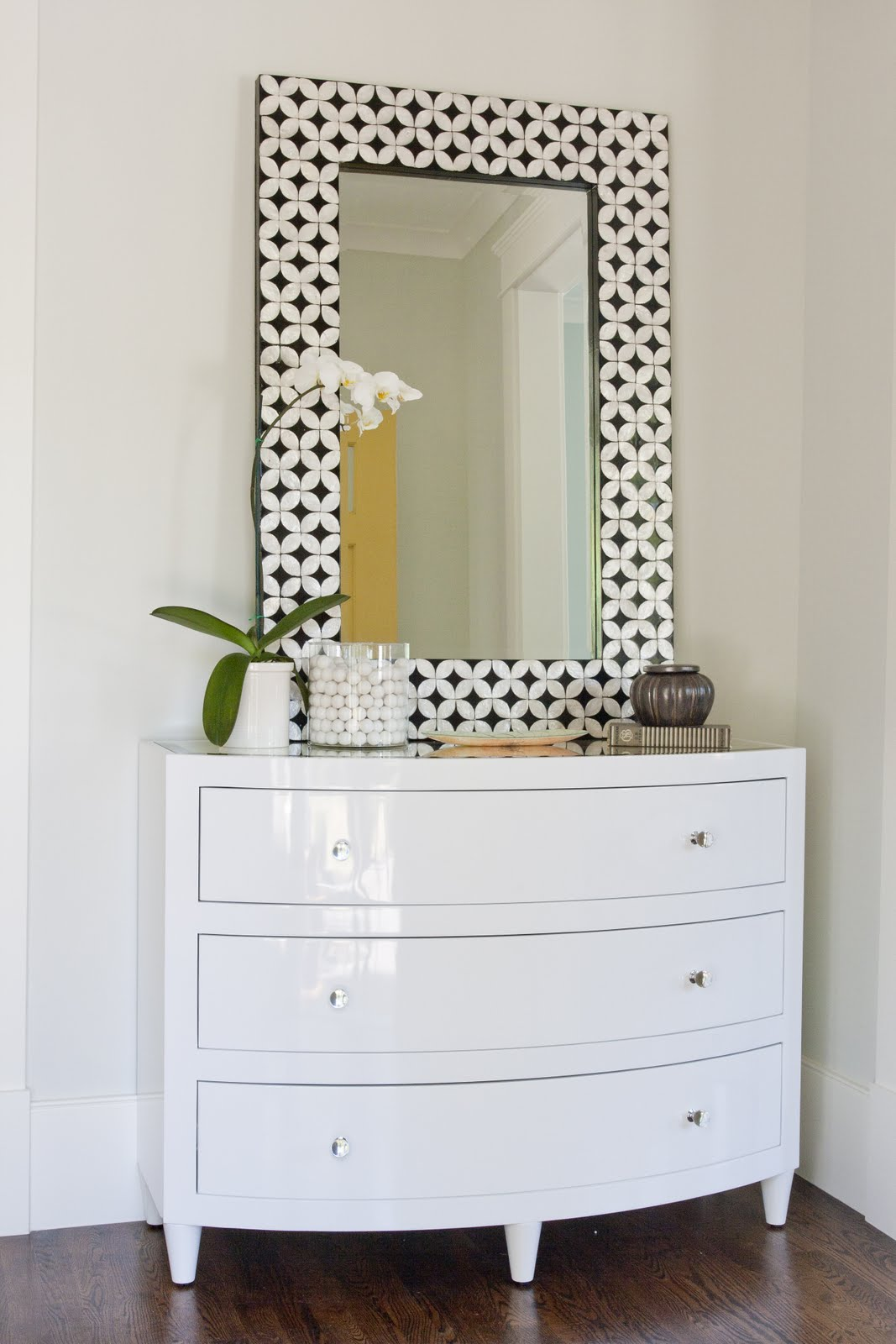 Sheu0027s Sophisticated And Classic With A Little Sparkle, Thanks To A Beveled Mirror  Top And Those Sleek Acrylic Knobs. We Love How Caitlin Incorporated Our ...