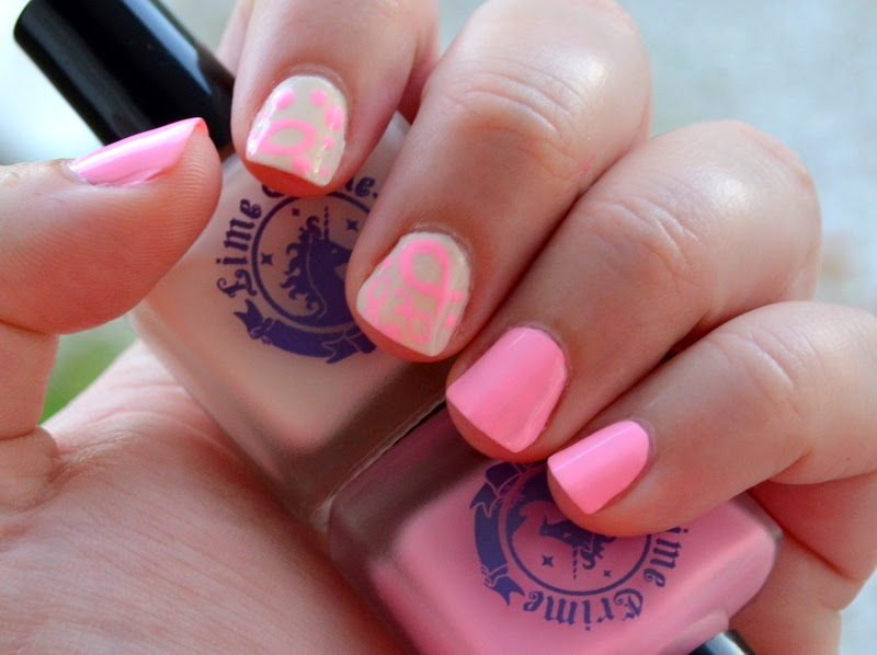 lime crime parfait days, lime crime milky way, breast cancer awareness nail art, pink nail art