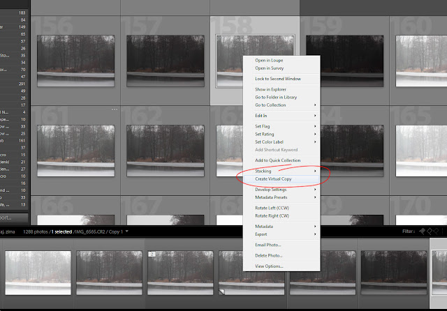 Creating Virtual Copy in Lightroom