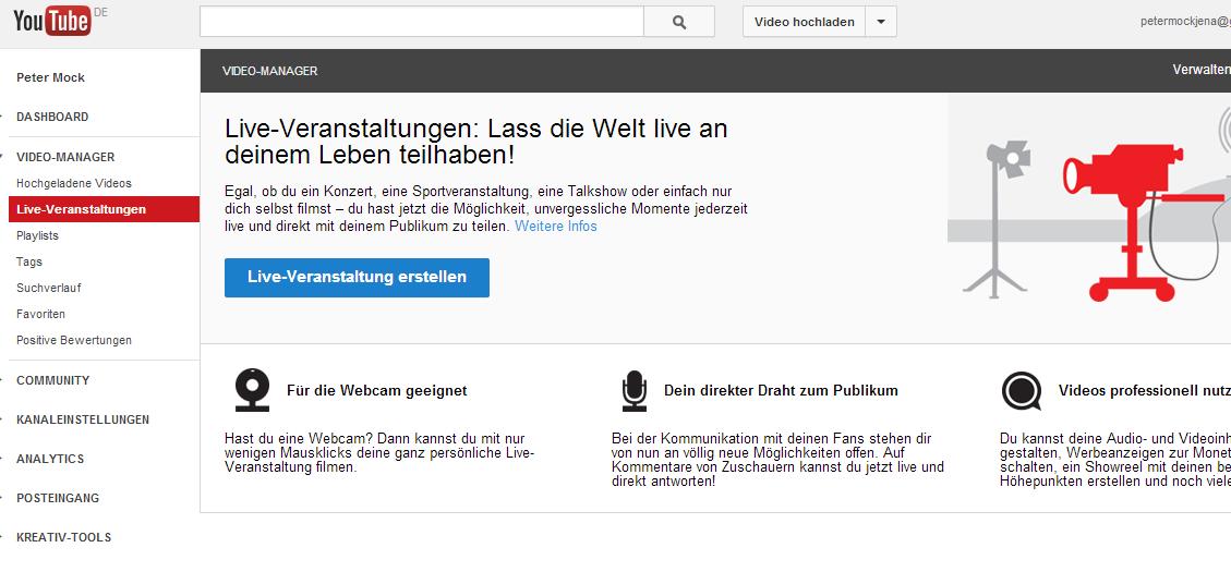 Youtube Live on Air: Technischer Fehler oder Revolution?