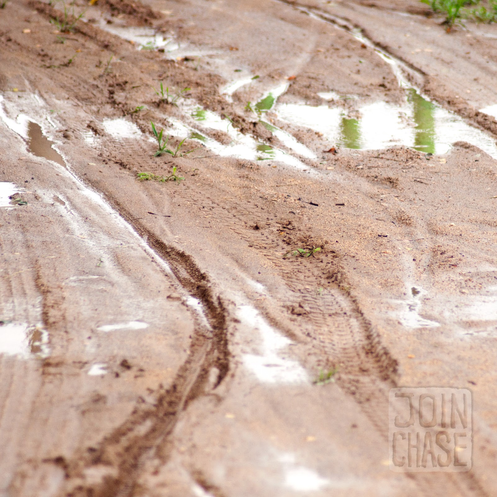Mud with tire tracks in it along the Geum River Bike Path in South Korea.