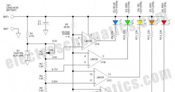 circuit schematic battery level indicator for 24 volts