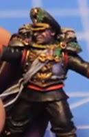 Rostro de un commisario del imperio de Warhammer 40000 con cicatrices