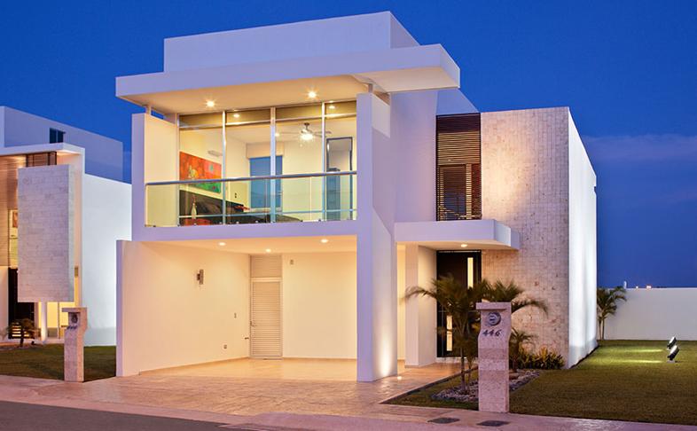 Fachadas minimalistas fachada minimalista lujosa en for Casas residenciales minimalistas