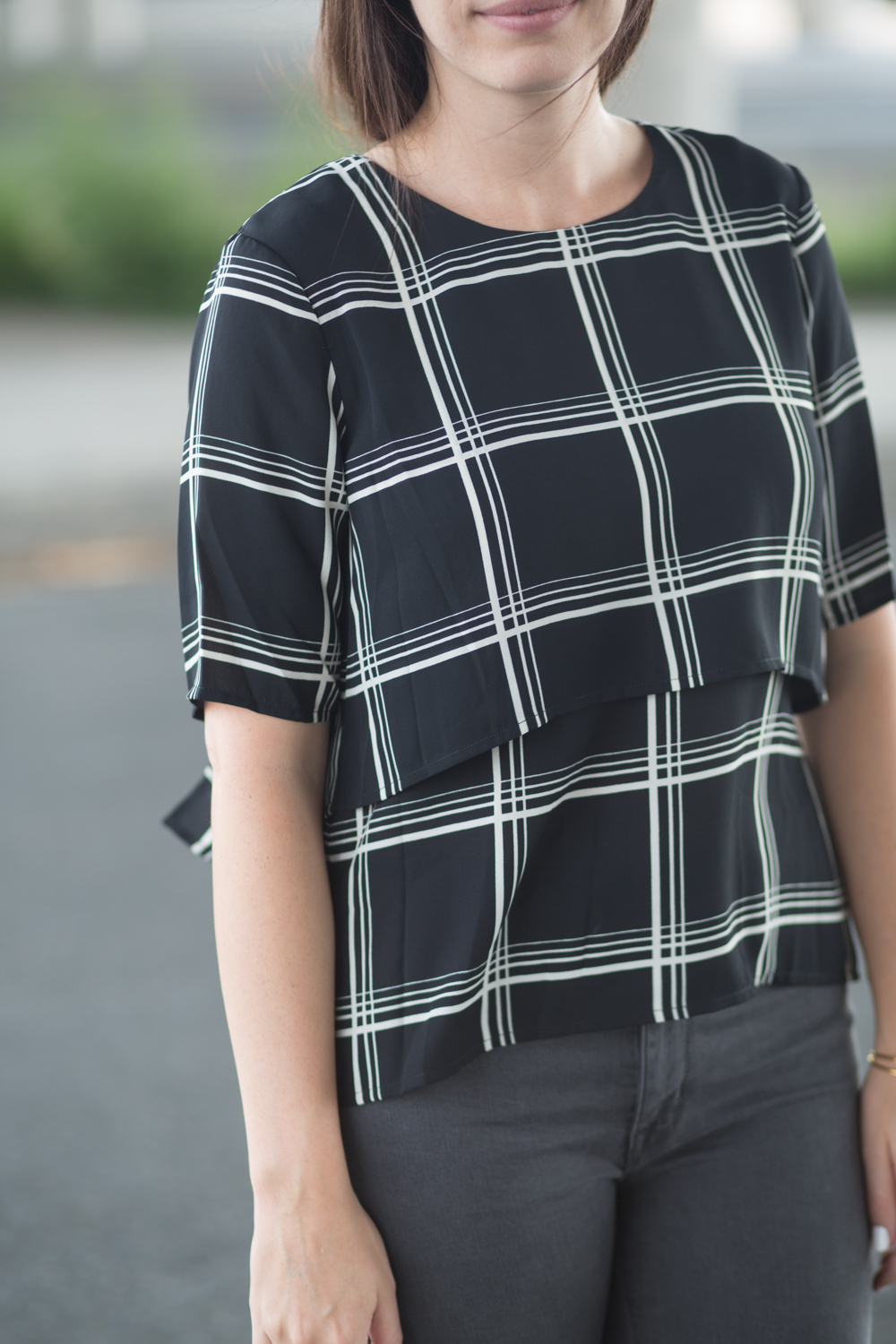 Wayf Checked Square Blouse