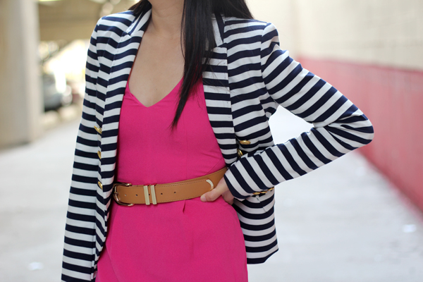 Striped Blazer + Pink Dress
