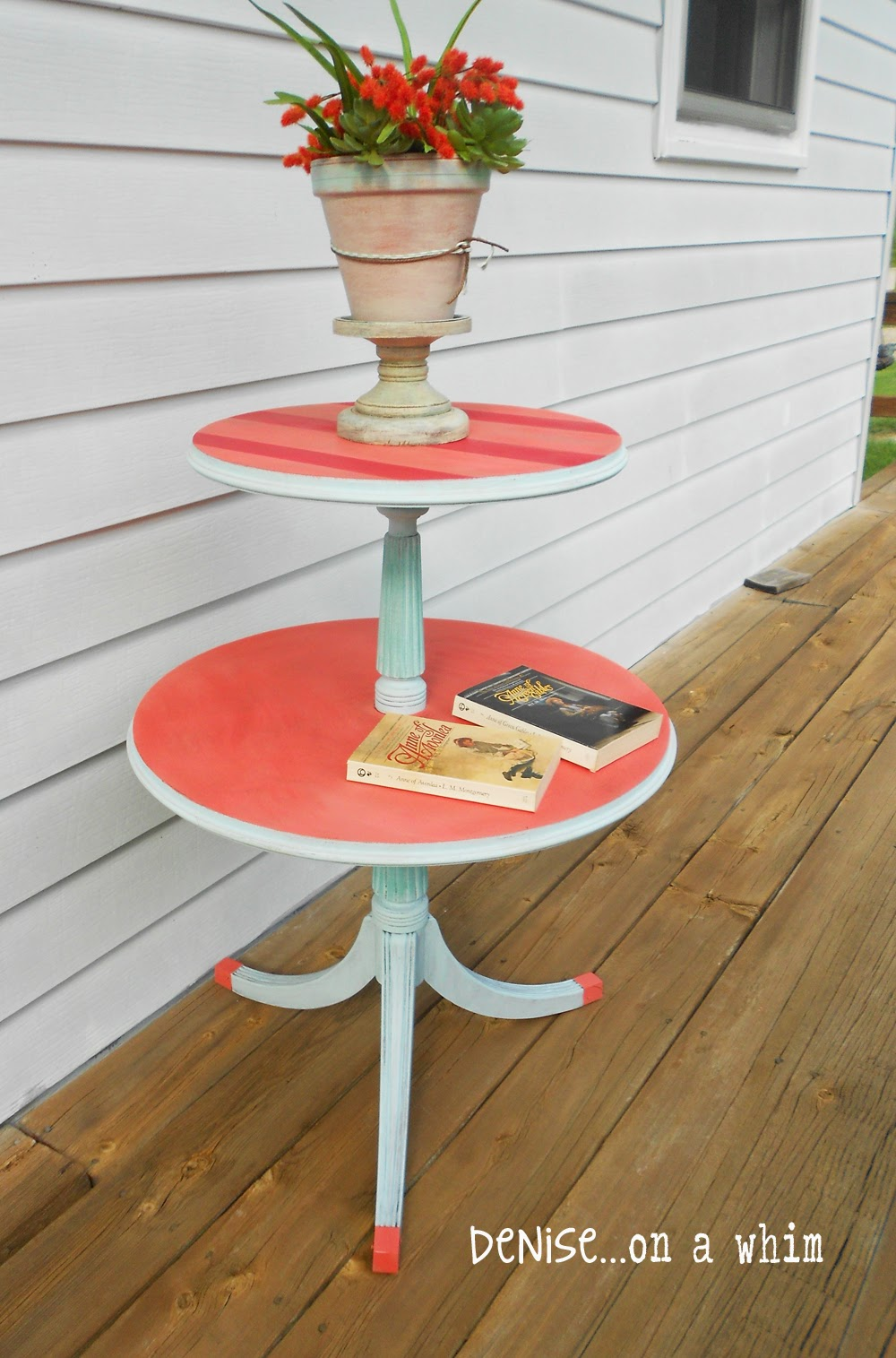Coral And Blue Table Makeover From Denise On A Whim