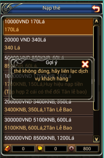 Hướng dẫn nạp thẻ game trong game Phong Vân Truyền Kỳ
