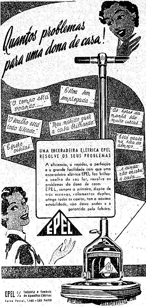 Propaganda das Enceradeira Epel veiculada no jornal 'O Estado de São Paulo' em 1954.