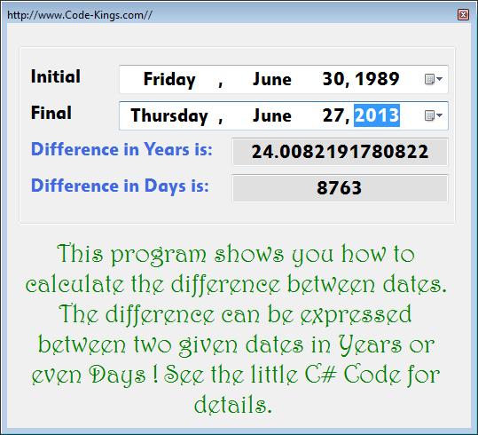 Difference between dates in Perth