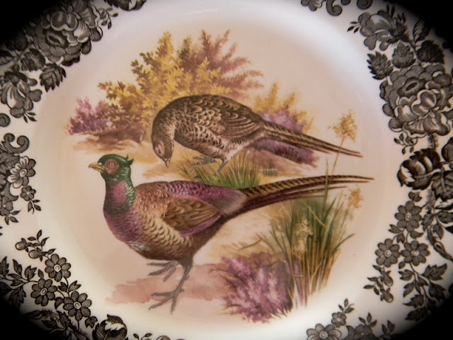These colors compliment the colors found on the face (the center decoration/scene) of my pheasant plates. & Nancyu0027s Daily Dish: A Brown and Aubergine Tablescape for Fall with ...