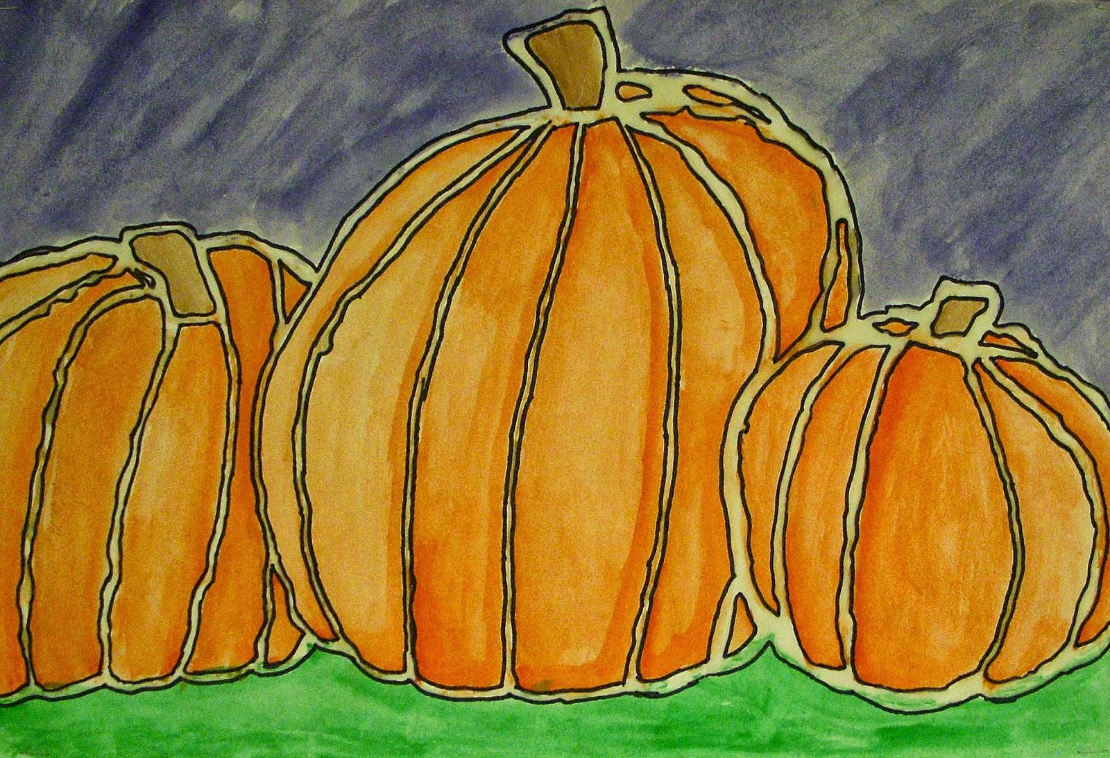 Contour Line Drawing Pumpkin : The art factory autumn pumpkins